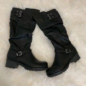 White Mountain   Black calf length boot